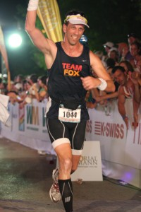 Crossing the Finish Line of Ironman Texas