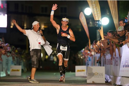 Crossing the Finish at Ironman Texas 2011